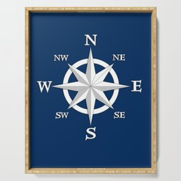 Eight Point Compass Rose, White and Navy Blue Serving Tray