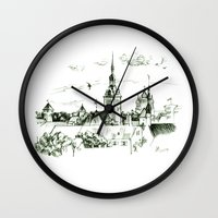 medieval Wall Clocks featuring Medieval landscape. by LaDa