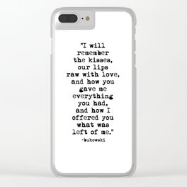 Charles Bukowski Typewriter Quote Love Clear iPhone Case