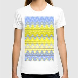 Simple Yellow Grey and Periwinkle Blue Zig Zag Modern T-shirt
