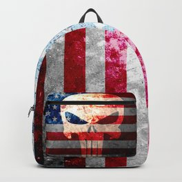 Punisher Themed Skull and American Flag on Distressed Metal Backpack