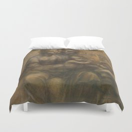 The Virgin and Child with St Anne and St John the Baptist by Leonardo da Vinci Duvet Cover