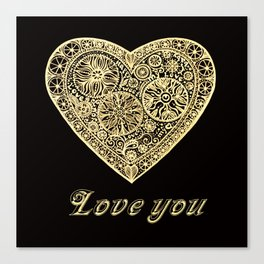 golden heart I love you Canvas Print