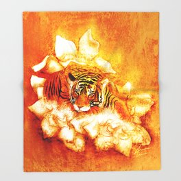 A Relaxed Fire Tiger On Gardenias Throw Blanket