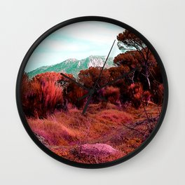 Red bright pink and orange alien landscape Wall Clock