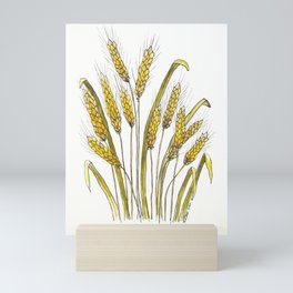 Golden wheat painting Mini Art Print