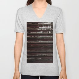 Rusted Metal Chipped Paint Texture - Industrial Line Pattern Unisex V-Neck
