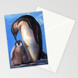 Penguins mother and baby Stationery Cards