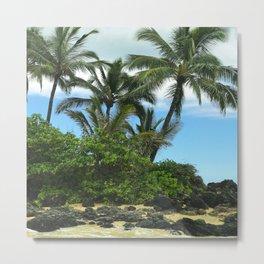 Tropical Hawaiian Beach in Pristine Paradise Metal Print