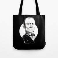 james bond Tote Bags featuring James Bond by Studio Drawgood