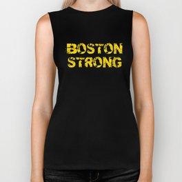 Support BOSTON STRONG Yellow Grunge Biker Tank