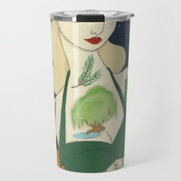 Tattooed Lady with Trees Travel Mug
