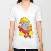 ganesh V-neck T-shirts featuring Ganesh  by xDiNKix