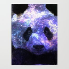 Galaxy Panda Space Colorful Poster