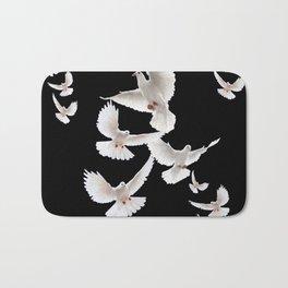 WHITE PEACE DOVES ON BLACK COLOR DESIGN ART Bath Mat