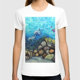 Take Me There - seascape with dolphins T-shirt