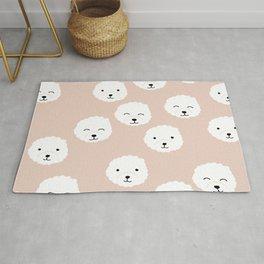 Little fluffy white puppy Pomeranian dog print kids design soft apricot girls Rug