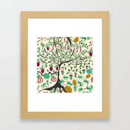 Fairy seamless pattern garden with plants, tree and flowers Framed Art Print