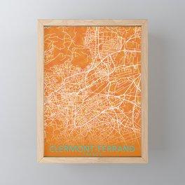 Clermont-Ferrand, Gold, Blue, City, Map Framed Mini Art Print