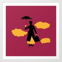 mary poppins Art Prints featuring Mary Poppins by FilmsQuiz