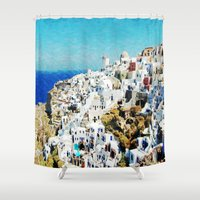 greece Shower Curtains featuring Santorini, Greece  by Abby Gracey