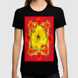 Decorative Red-Yellow Lilies floral Abstract Pattern T-shirt