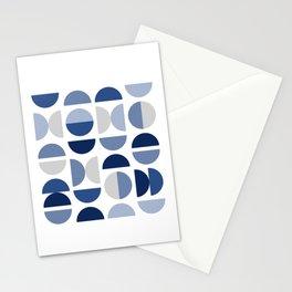Mid Century Modern Blue Gray Geometry Stationery Cards
