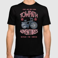 TOWPATH ADVENTURES Black LARGE Mens Fitted Tee
