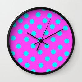 Magenta Polka dots Wall Clock