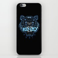 kenzo iPhone & iPod Skins featuring Kenzo Tiger Dark Blue by cvrcak