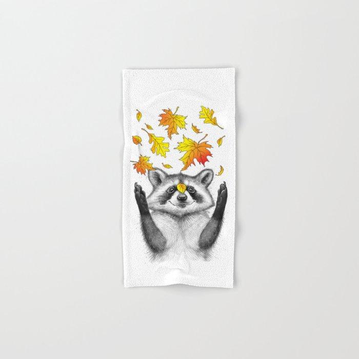 autumn raccoon Hand & Bath Towel