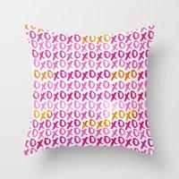 xoxo Throw Pillows featuring XOXO by Sara Berrenson