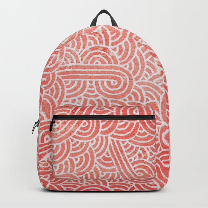 Peach echo and white swirls doodles Backpack