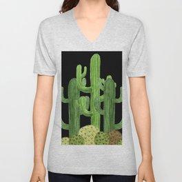 Desert Vacay Three Cacti on Black Unisex V-Neck