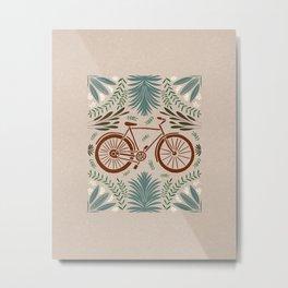 Bike and Flowers // Hand drawn Folk Art // Red and Green Metal Print