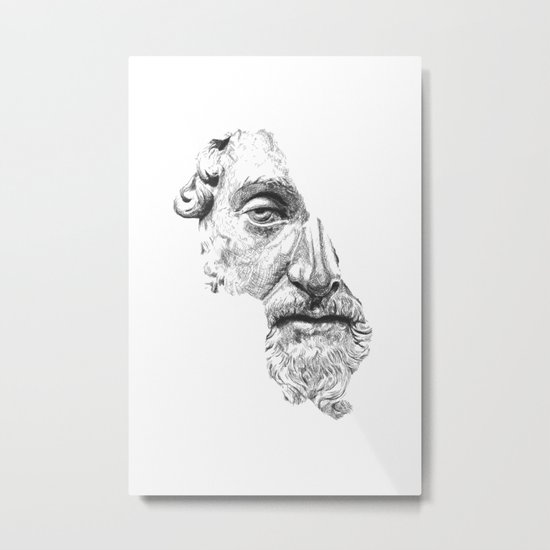 MARCUS AURELIUS ANTONINUS AUGUSTUS / black / white Metal Print