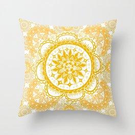 Orange Kaleidoscope Patterned Mandala Throw Pillow
