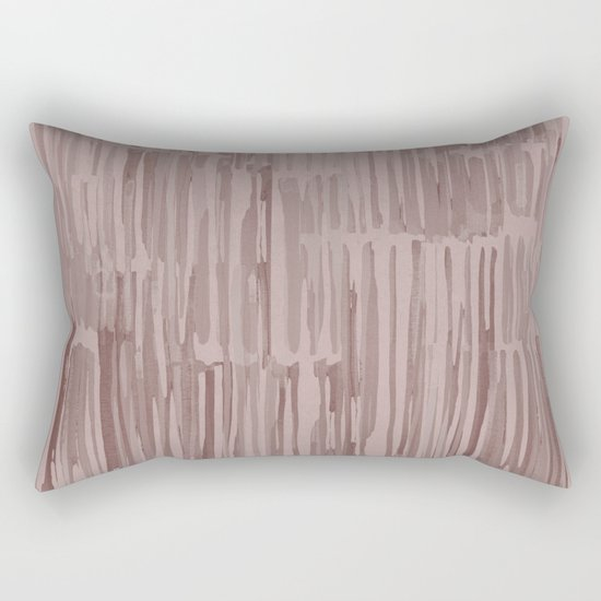 Simply Bamboo Brushstroke Red Earth on Clay Pink Rectangular Pillow