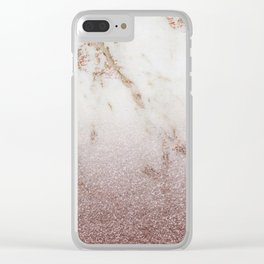 Burgundy glow - marble glitter gradient Clear iPhone Case