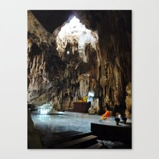 Monk in Cave Temple Canvas Print