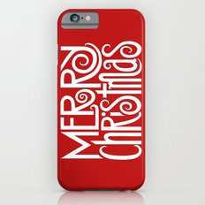 Merry Christmas Text White iPhone 6s Slim Case