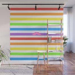 Pink Rainbow Mustache Madness! Wall Mural