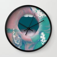 mouth Wall Clocks featuring mouth by Bec Scerri