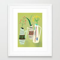 mid century Framed Art Prints featuring Three mid century vases by Elisandra Sevenstar