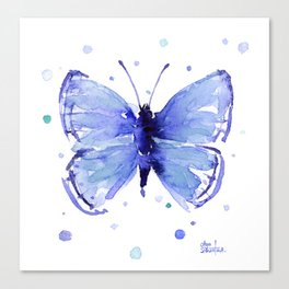 Dark Blue Butterfly Watercolor Canvas Print