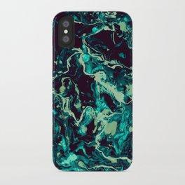 Neon cyan Glow splash on black Liquid paint art iPhone Case