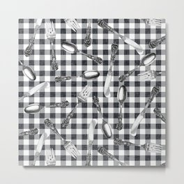 Utensils on Black Picnic Blanket Metal Print