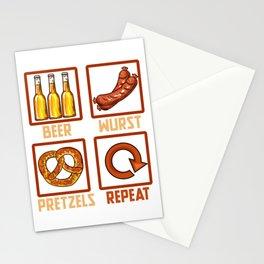 Beer Wurst Pretzels Repeat l Munich Oktoberfest design Stationery Cards
