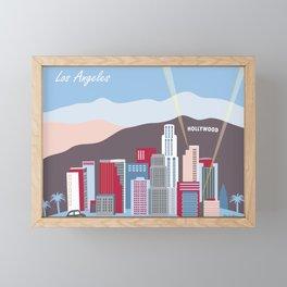 Los Angeles, California - Skyline Illustration by Loose Petals Framed Mini Art Print