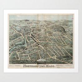 Vintage Pictorial Map of Northampton MA (1875) Art Print